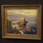 Dipinto italiano paesaggio marino con scogliera olio