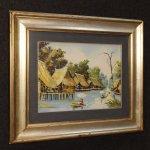 Dipinto francese paesaggio orientale olio su tela