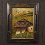 Dipinto francese paesaggio di montagna con baita