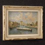 Dipinto italiano paesaggio veduta di fiume con