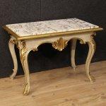 Tavolino italiano in legno laccato e dorato