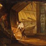 Antico dipinto francese scena d'interno del xix