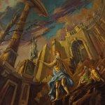 Dipinto italiano mitologico con guerrieri e rovine