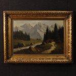 Antico dipinto francese firmato paesaggio del xix