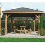 Kiosk gazebo tetto legno + tegole 347x347