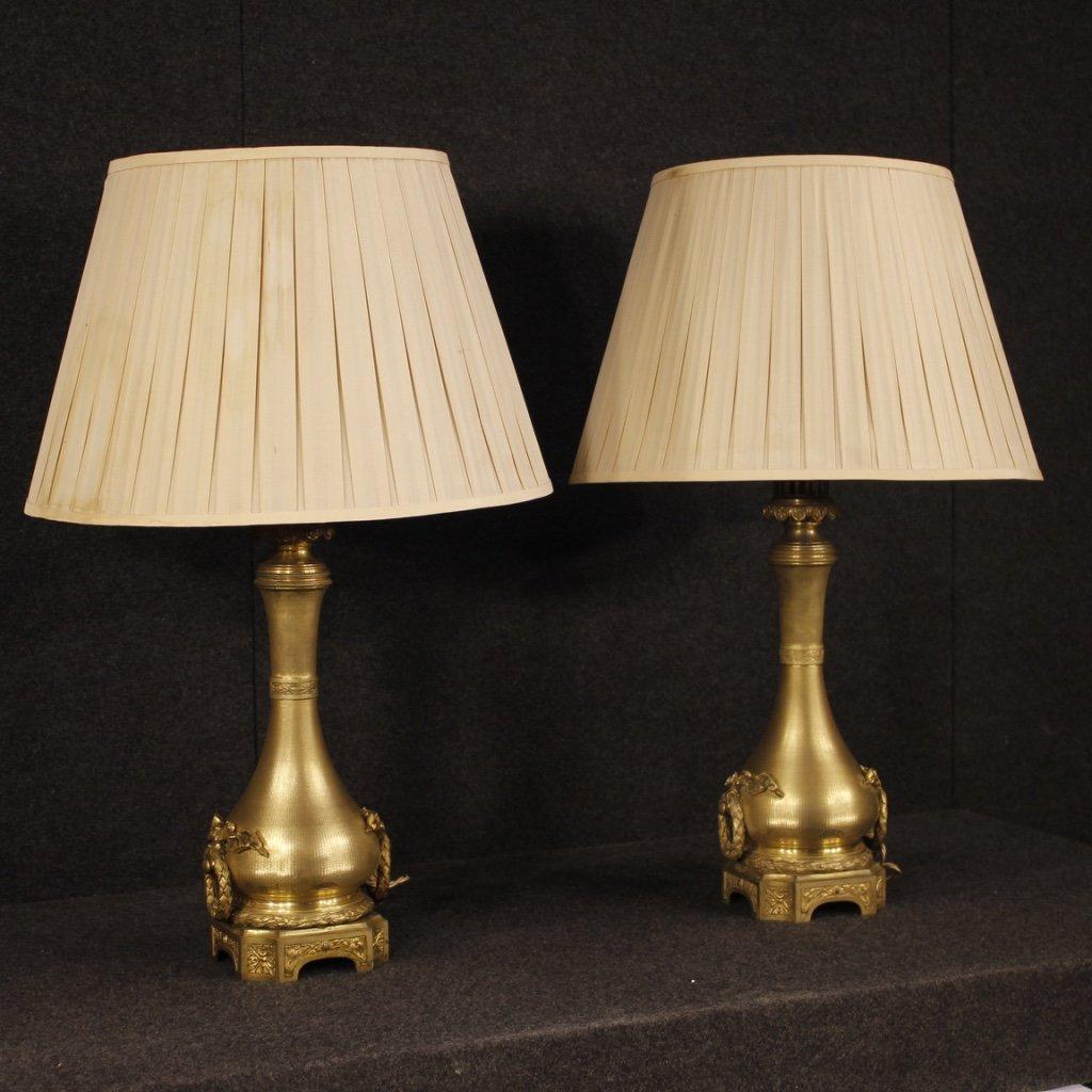 Antica coppia di lampade francesi dorate in 1
