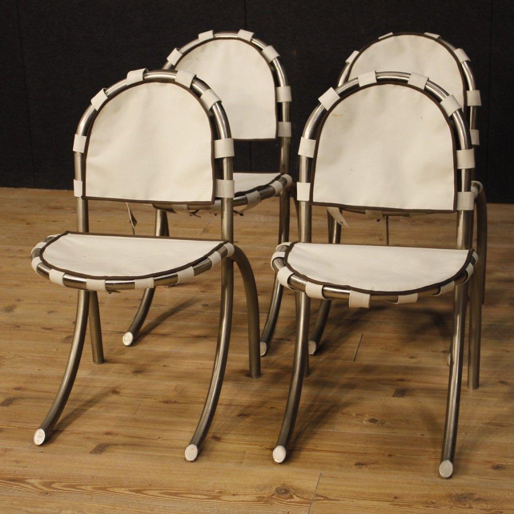 4 sedie italiane in acciaio e tessuto 1