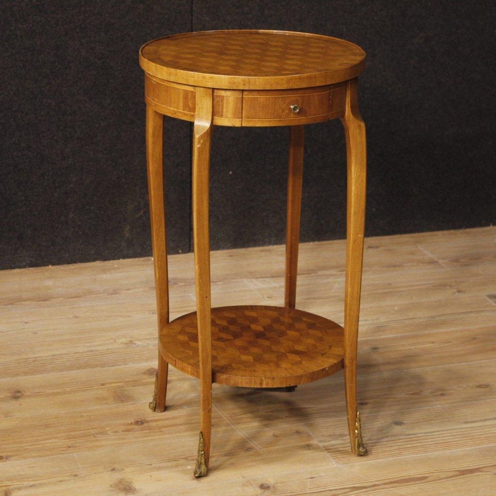 Tavolino francese intarsiato in mogano bois de 1