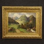 Dipinto francese paesaggio olio su tela