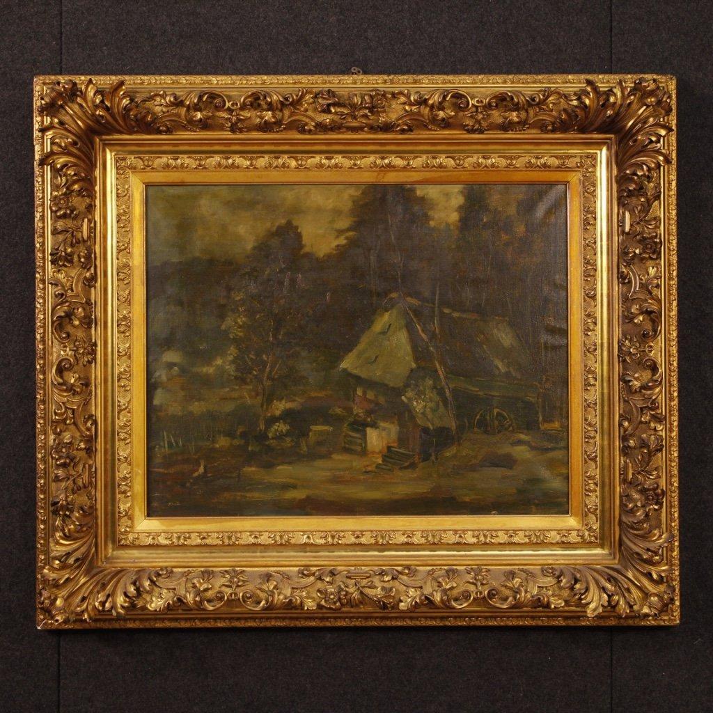 Dipinto olandese firmato paesaggio boschivo 1