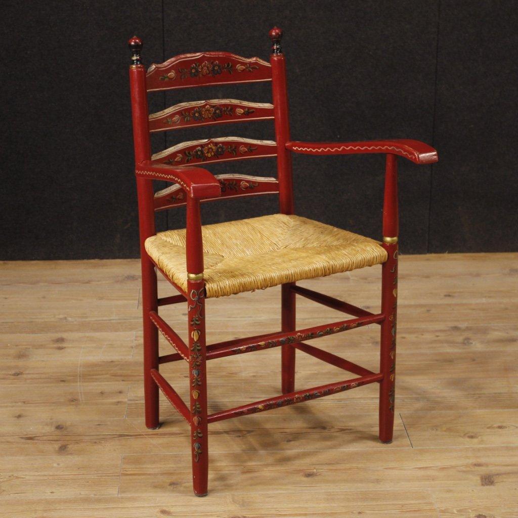 Poltrona olandese in legno dipinto rosso con 1