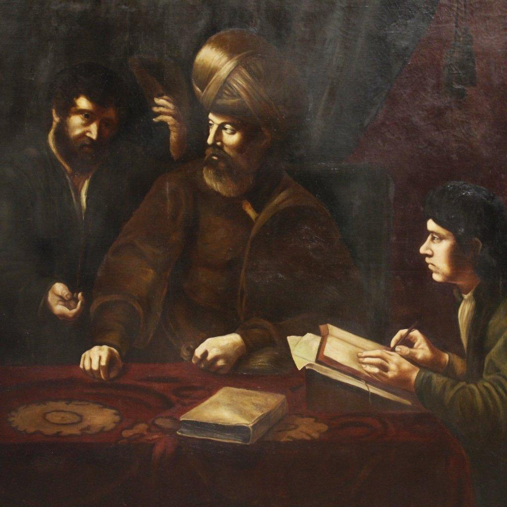 Dipinto spagnolo scena d'interno con personaggi 1