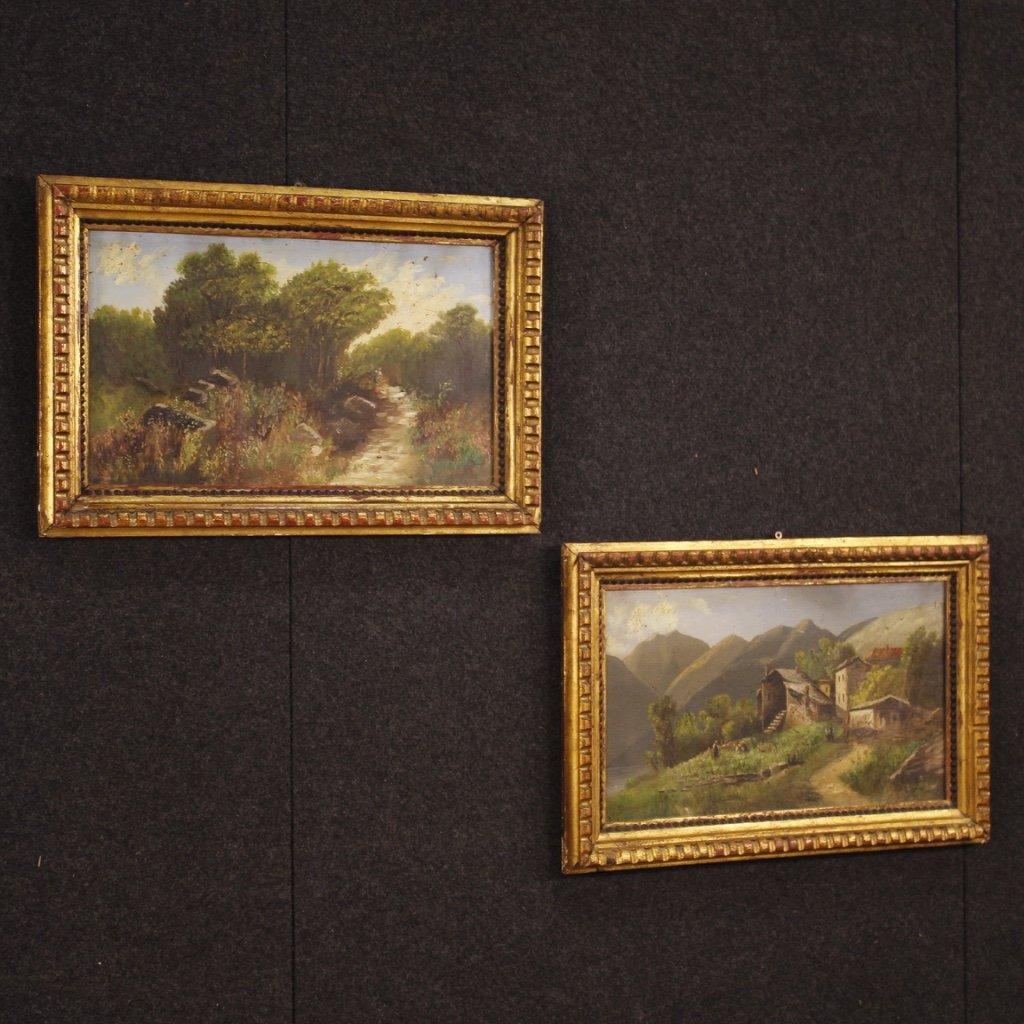 Coppia di dipinti italiani firmati paesaggi con 1