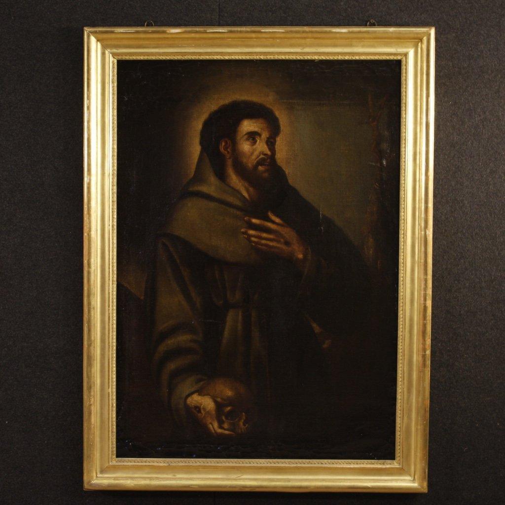 Antico dipinto spagnolo religioso san francesco del 1