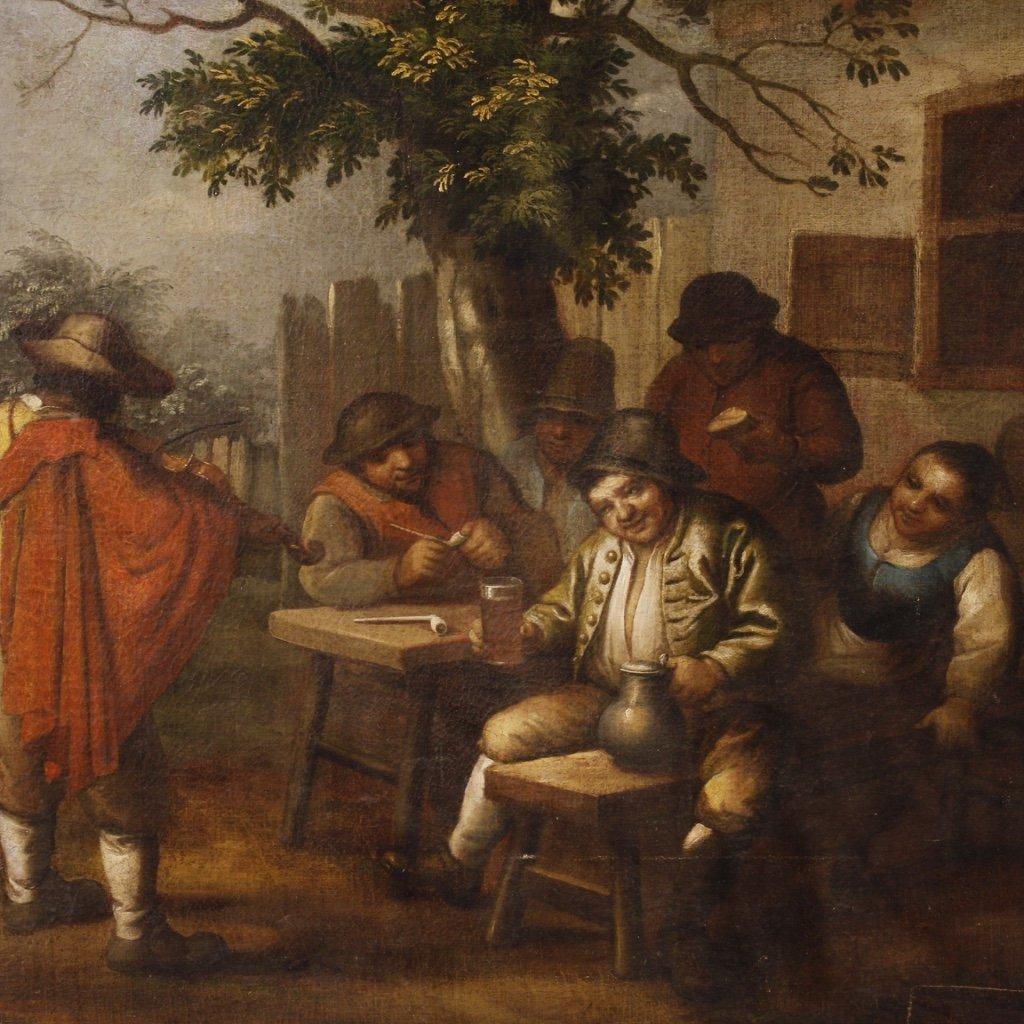 Antico dipinto fiammingo scena popolare con personaggi 1