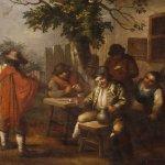 Antico dipinto fiammingo scena popolare con personaggi