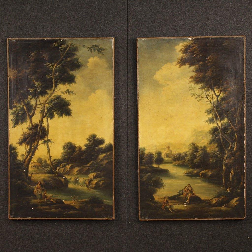 Coppia di dipinti italiani paesaggi olio su 1