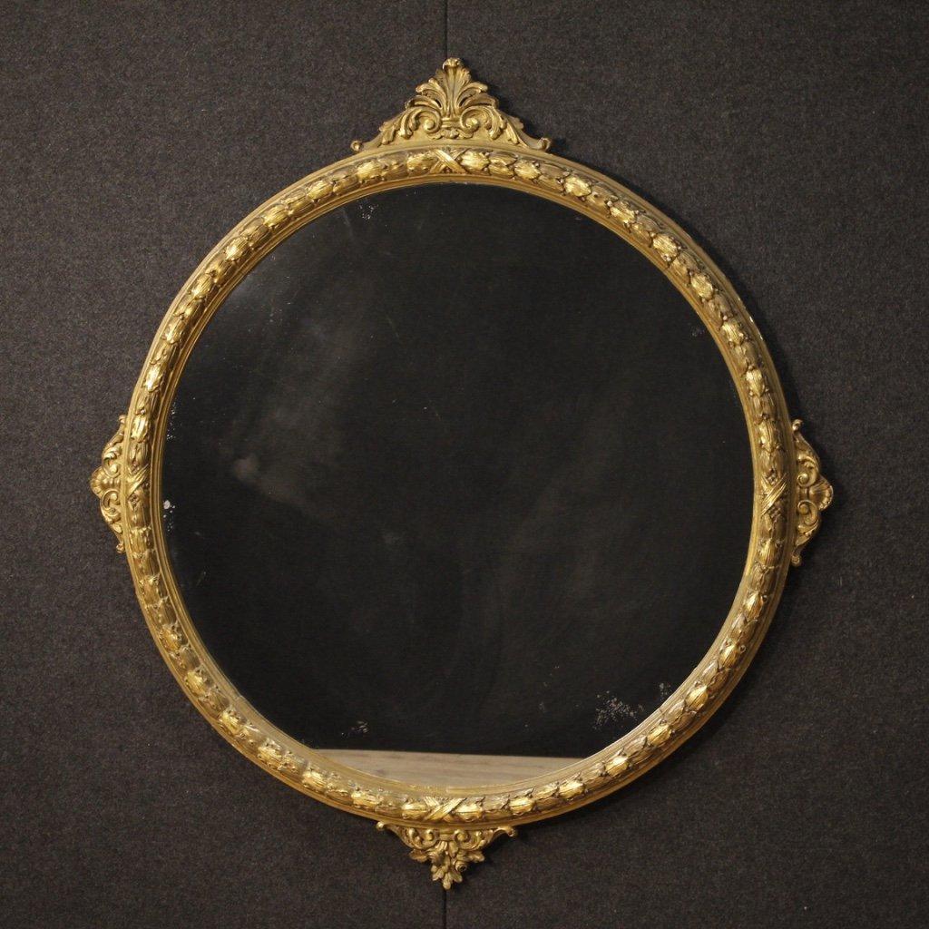 Specchiera italiana rotonda in legno dorato 1