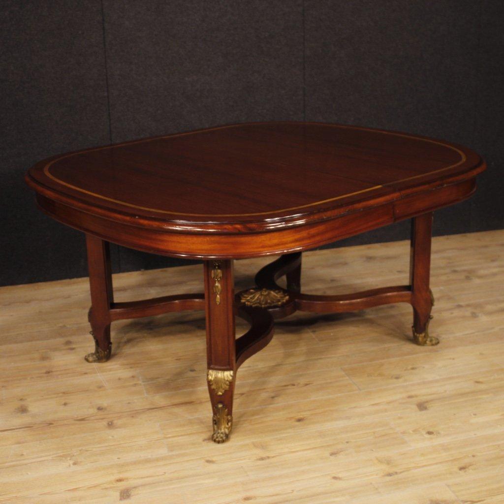 Tavolo francese allungabile in legno di mogano 1