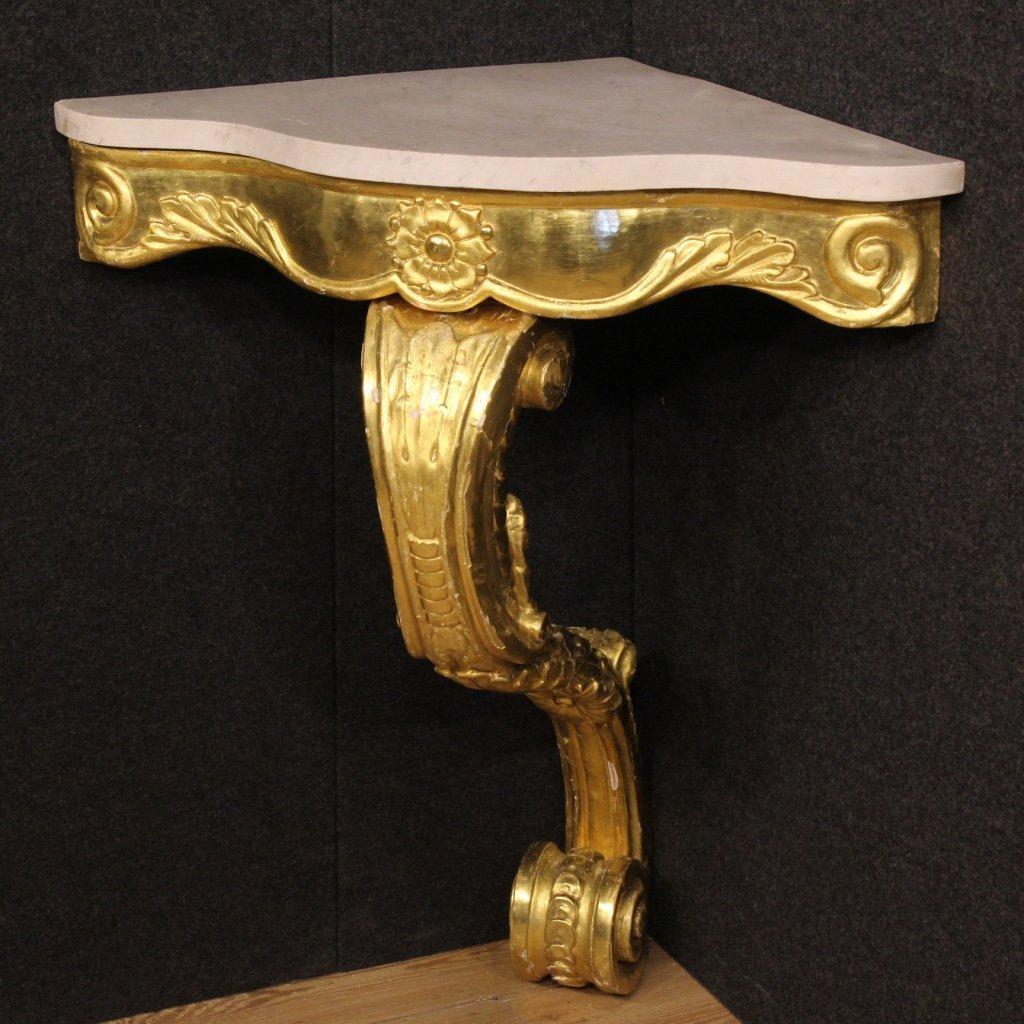Console italiana in legno dorato con piano 1