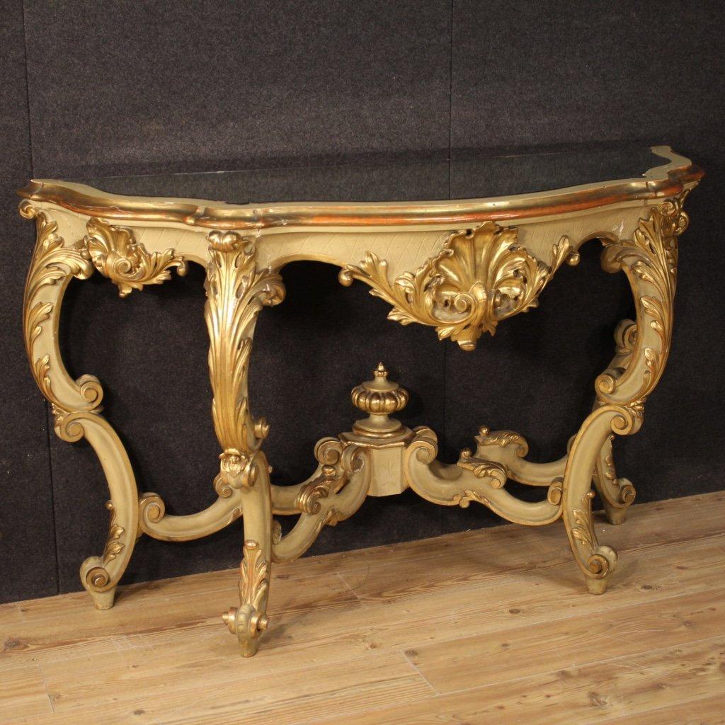 Console italiana in legno laccato e dorato 1
