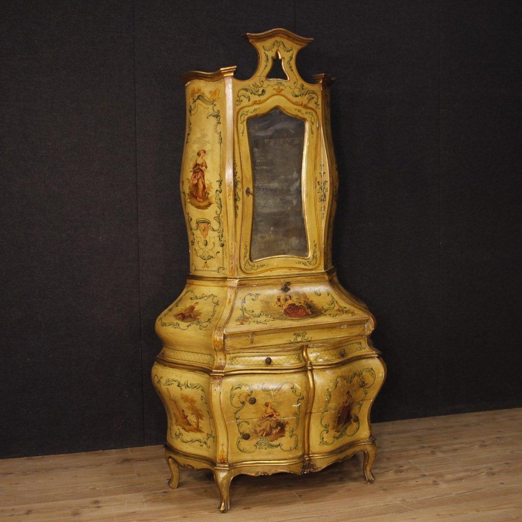 Trumeau veneziano in legno laccato dorato e 1
