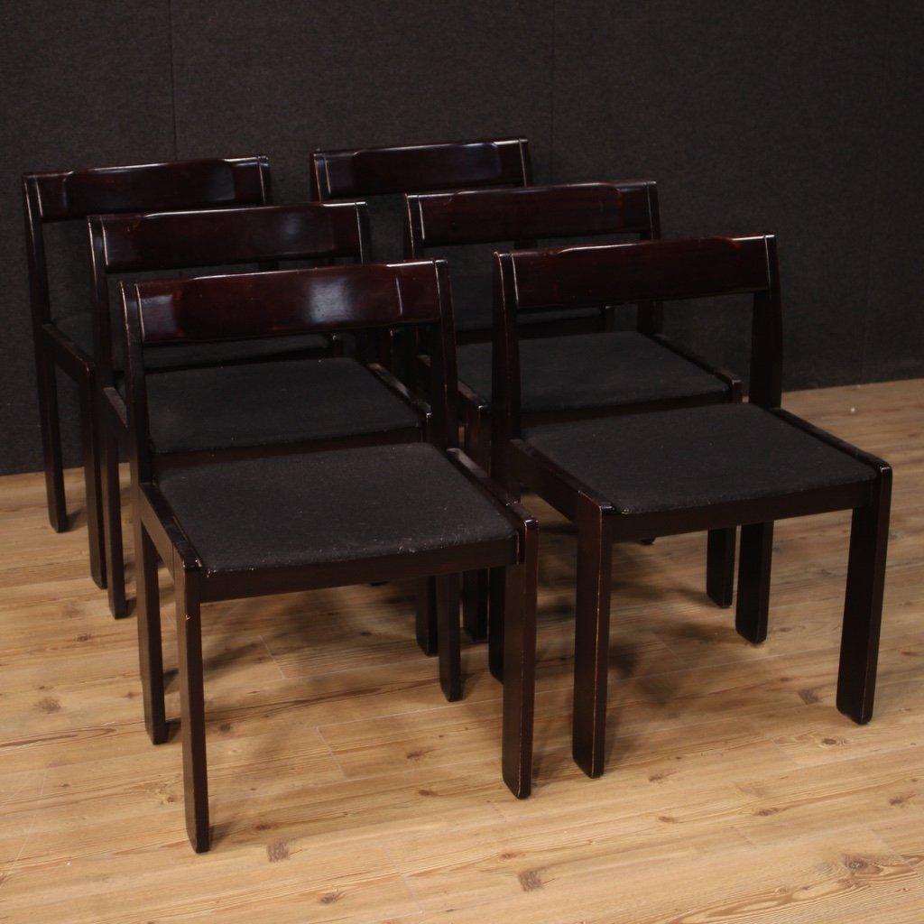 Sei sedie italiane di design in legno 1