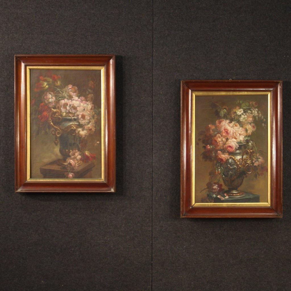 Coppia di dipinti italiani nature morte olio 1
