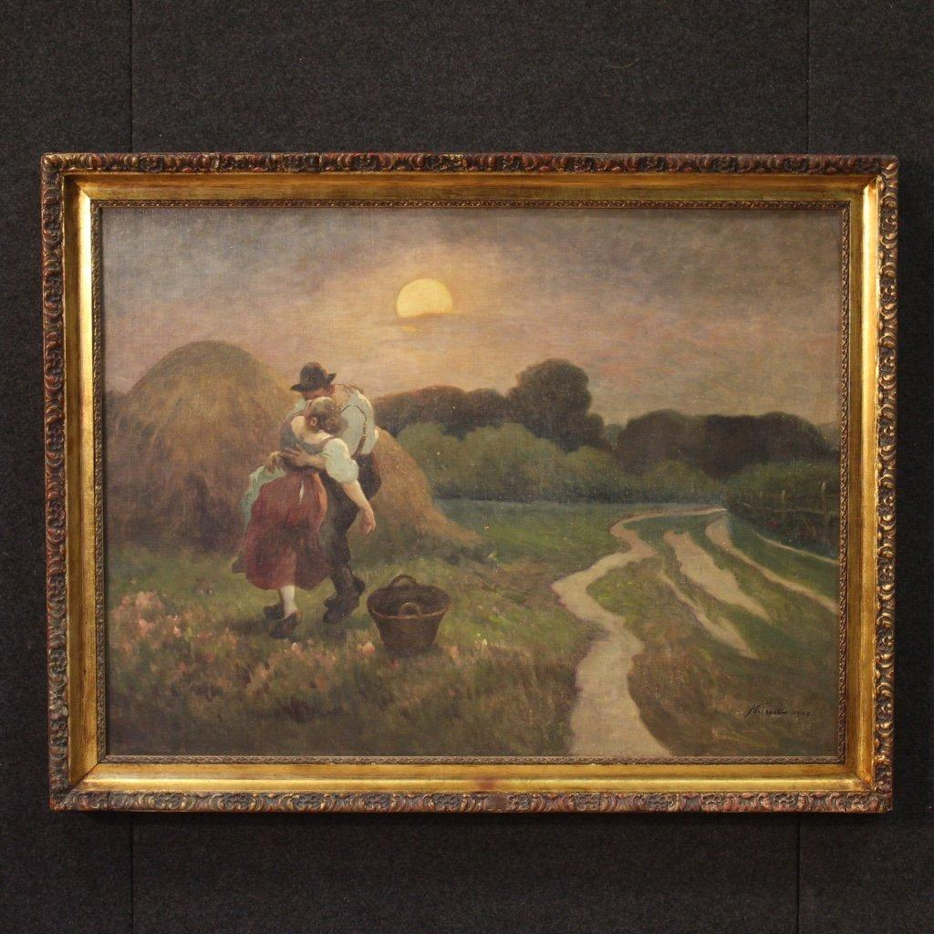 Dipinto francese paesaggio romantico olio su tela 1
