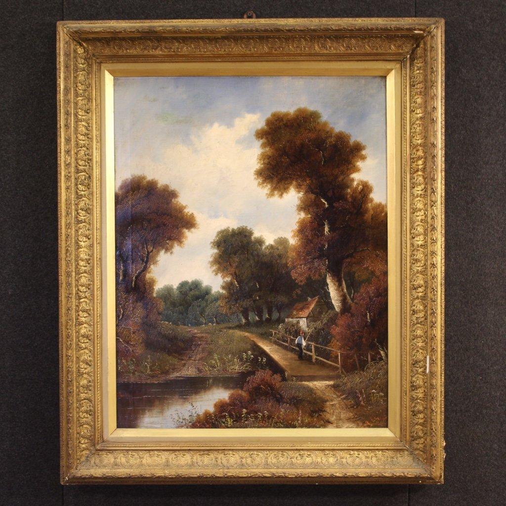 Dipinto francese paesaggio olio su tela 1