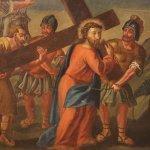 Antico dipinto italiano religioso via crucis del