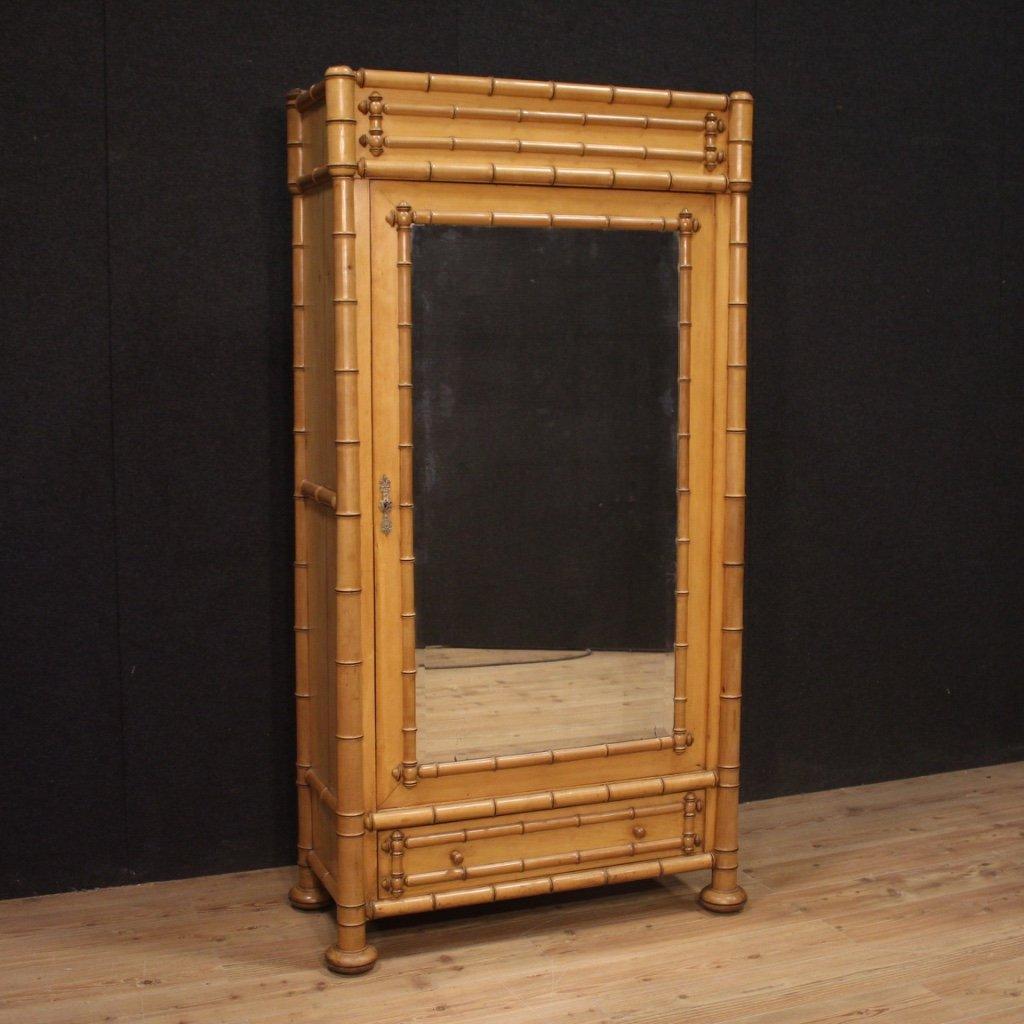 Armadio francese in finto bambù con specchio 1