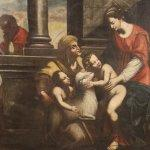 Antico dipinto italiano religioso olio su tela