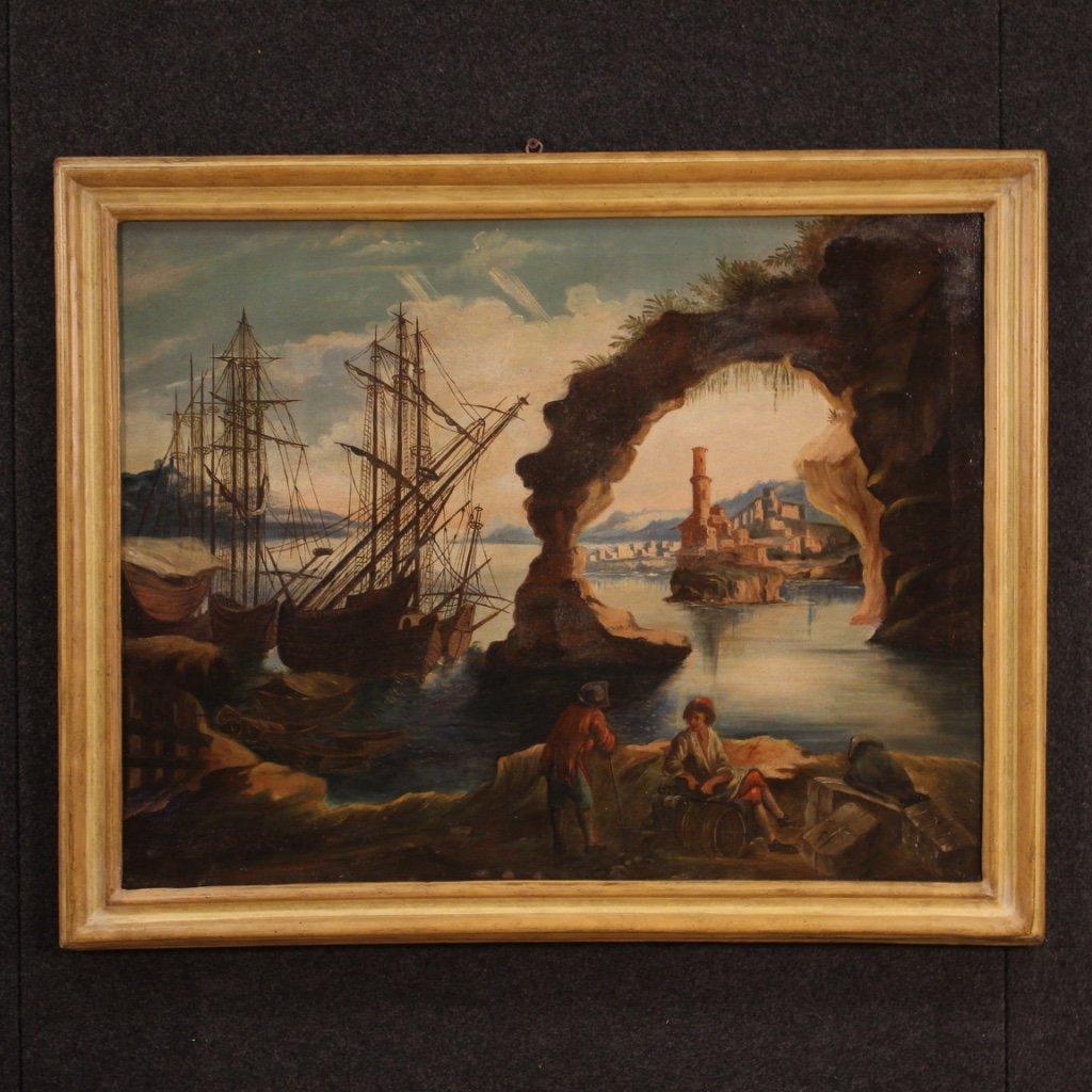 Antico dipinto italiano marina del xix secolo 1