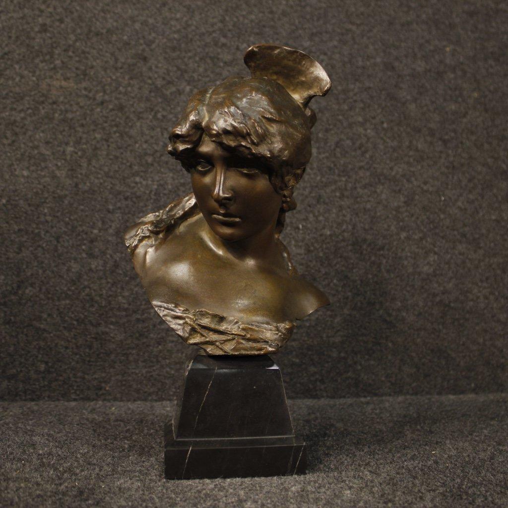 Scultura francese in bronzo raffigurante volto di 1
