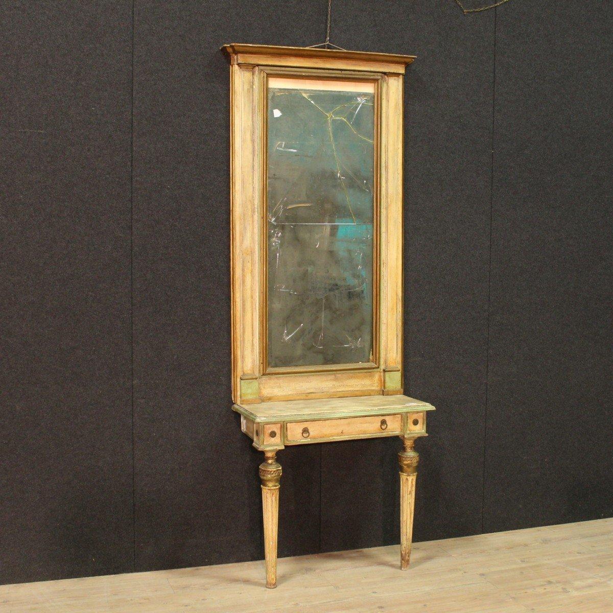 Antica console con specchiera torinese laccata epoca 1