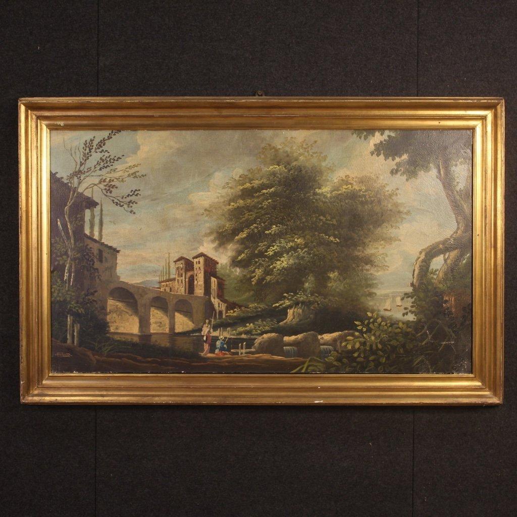 Dipinto olandese paesaggio con personaggi 1