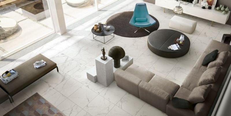 Piastrella gres effetto marmo statuario bianco 1