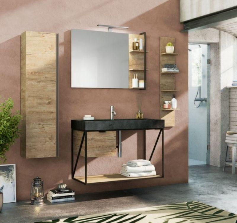 Mobile bagno Industry 100 cm Moro Goffrato/Natural OAK 1