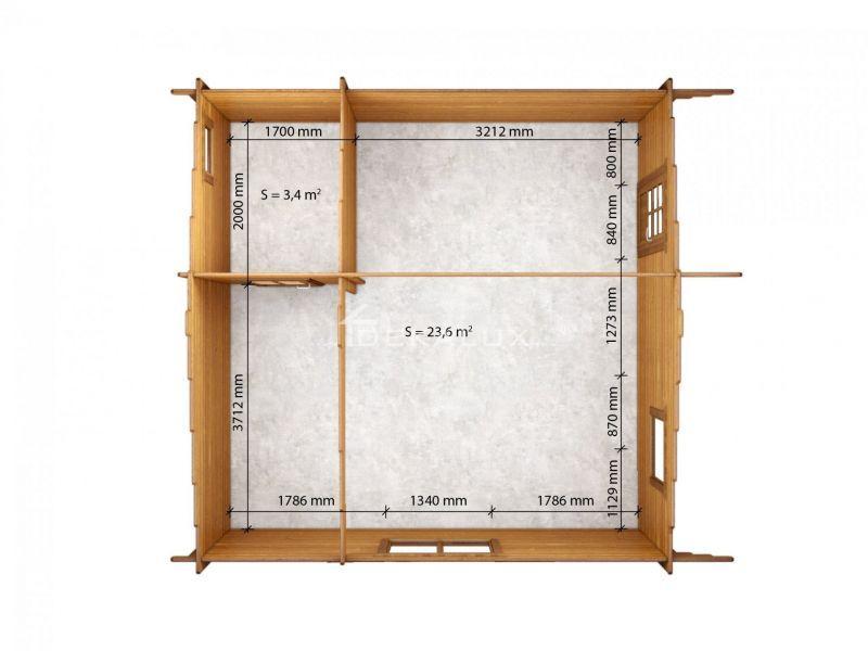Bungalow in legno 5 x 5  con parete divisoria 3
