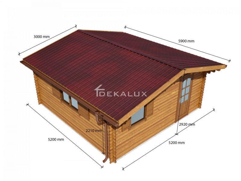 Bungalow in legno 5 x 5  con parete divisoria 4