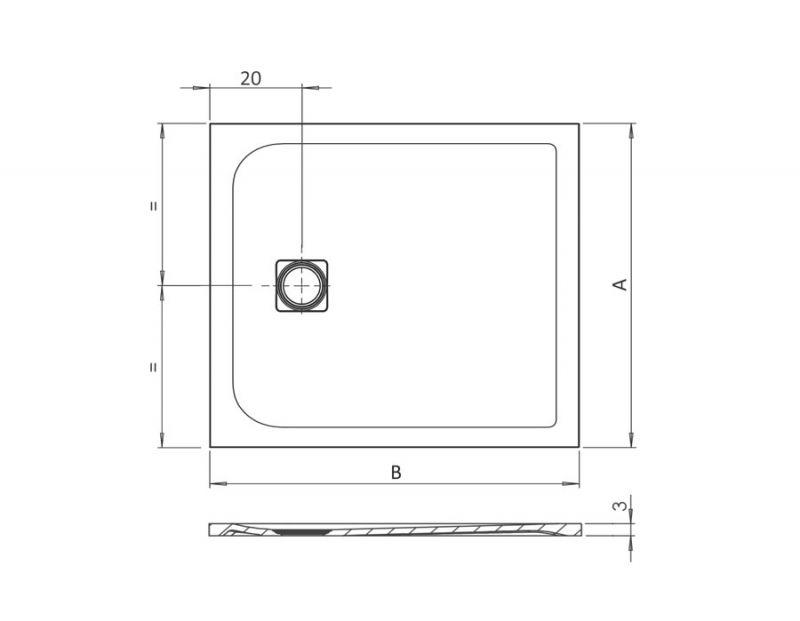 Piatto doccia rettangolare SIMI 120x80 finitura pietra colore bianco 2