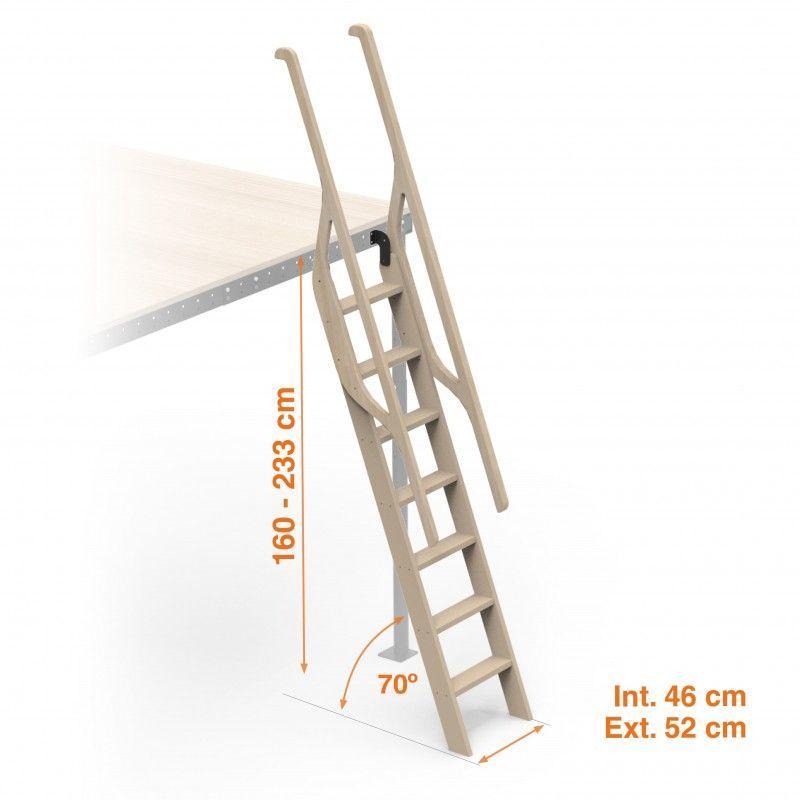 Scala in legno per soppalchi 70° 8
