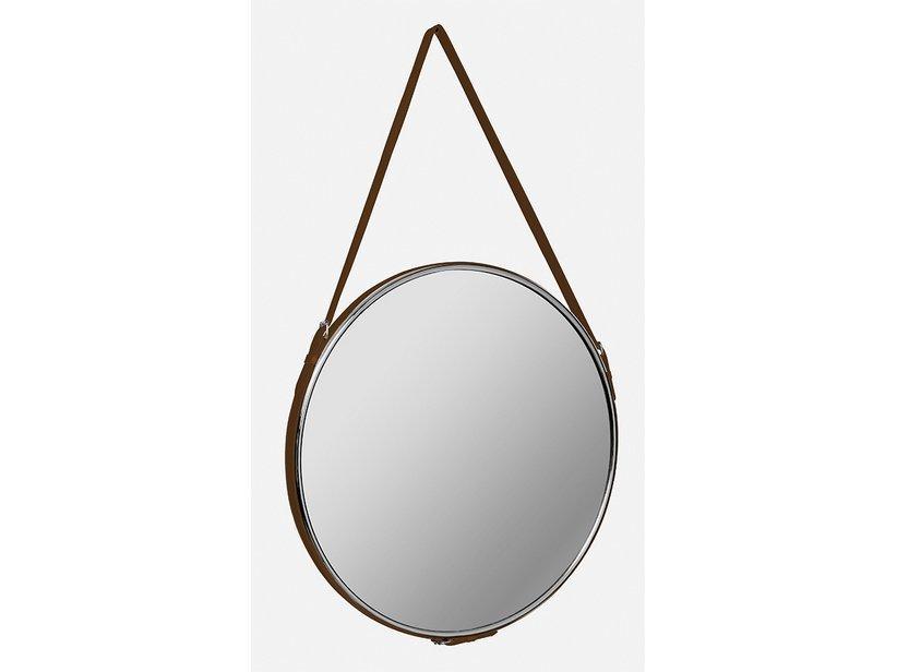 Specchio bagno sellery &oslash 60 ecopelle cuoio 1