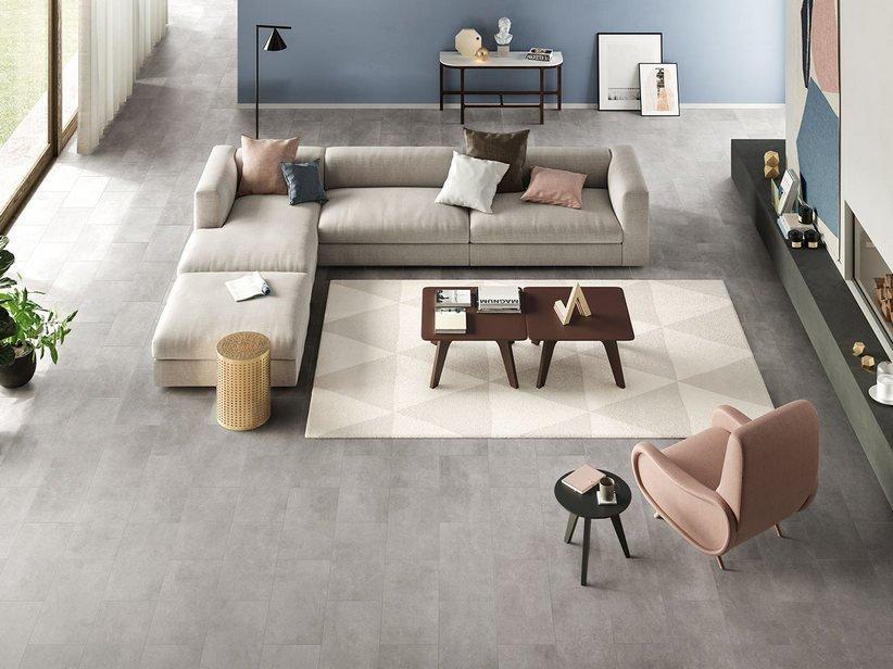 Pavimento spc space silver effetto cemento grigio 1