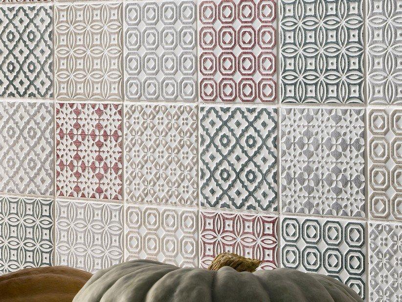 Piastrella batik decoro ciliegia 10x10 patchwork rosso 1