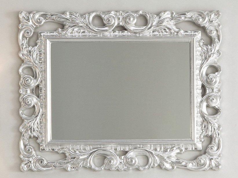 Specchio bagno barocco 94x75 foglia argento 1