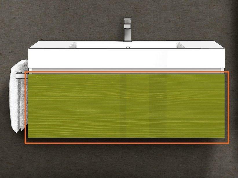 Cassetto bagno qubo 100 cm oliva laccato 1