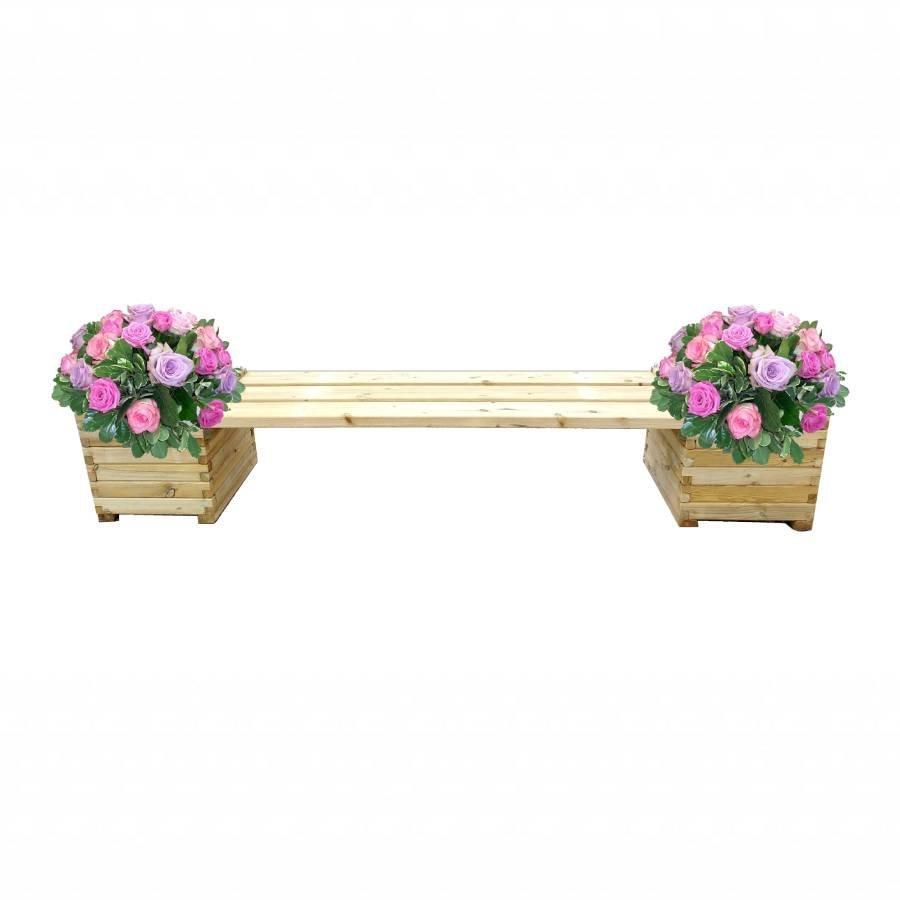 Panca da giardino con fioriera legno di 1