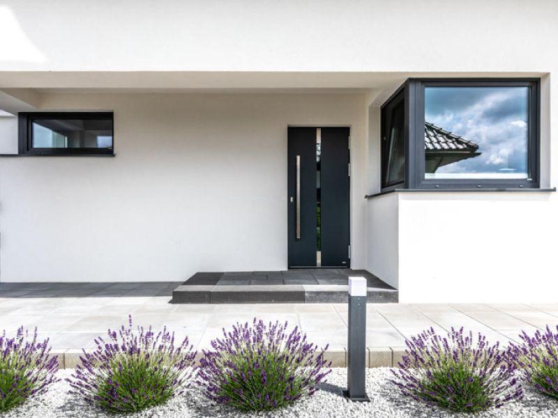 Porte d'ingresso con pannello applicato in alluminio 3